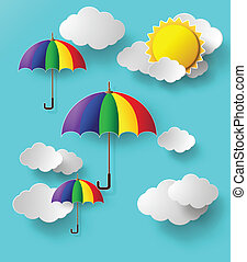colorful umbrellas flying high in the airpaper cut style
