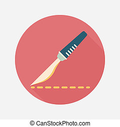 Scalpel cut flat icon with long shadow