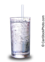 Water with ice in glass