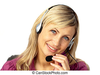 Business woman talking on a headset - Young Businesswoman...