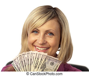 happy woman holding dollars - Happy young adult woman...