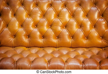 close up texture of brown leather sofa vintage style
