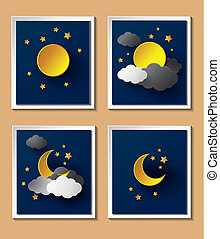 Abstract paper weather with moon at nightfall.paper art .