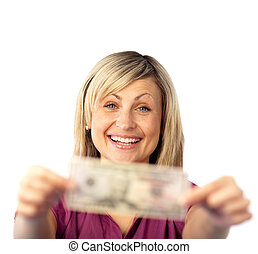 Cheerful woman with dollars smiling at the camera