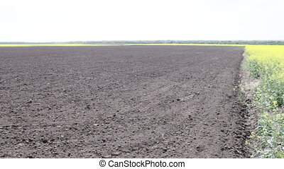 freshly plowed black earth field day in the spring