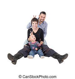 cheerful family - studio portrait of a cheerful family,...