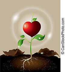 concept of green sprout growing from heart