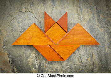 tangram bat abstract - abstract picture of a flying bat...