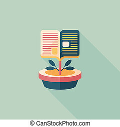 book tree flat icon with long shadow,eps10