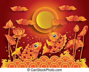 Golden koi fish with fullmoon: Mid Autumn Festival Chuseok