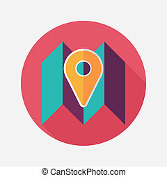 map location flat icon with long shadow