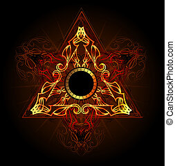 fire symbol - fire triangle esoteric symbol on a black...