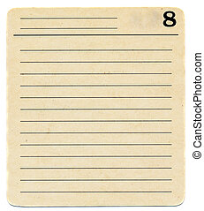 ancient index card paper with lines and number 8 background...