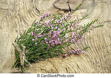 Calluna vulgaris common heather flowers on wooden surface