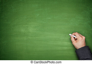 Hand on Empty Blackboard - Hand with chalk on Empty green...