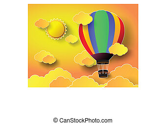 colorful  hot air balloon with sunset