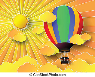 colorful hot air balloon with sunset - Vector illustration...