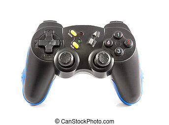 Game joystick - Joystick gamepad Black and blue isolated on...