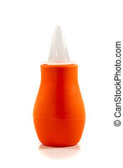Nasal aspirator from head with cap on white background.