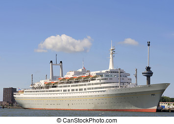 Ocean liner in the harbor of Rotterdam,Holland. At the...