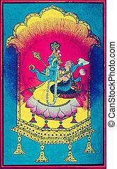 Vishnu and Laxmi. Pahari Painting Dated: 1700 A.D. Basohli,...
