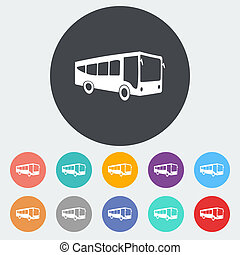 Bus flat icon - Bus Single flat icon on the circle Vector...
