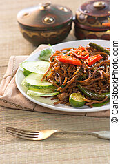 Thai food; spicy fried noodle with pork
