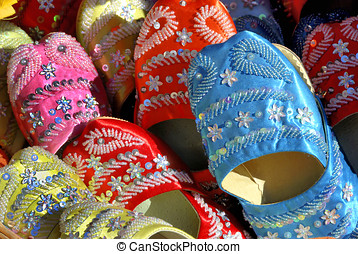 Handmade Moroccan shoes in the souk of marrakesh