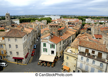 The city of Arles in France - Bird view of the city of Arles...
