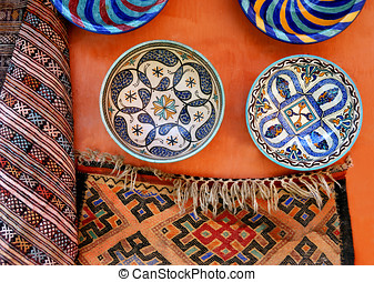 Pottery and a carpet at the medina of Marrakesh,Morocco