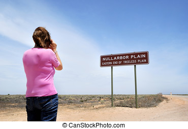 Sign on the Eyre Highway, Nullarbor Plain,Aaustralia - Girl...