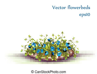 Vector flowerbed with grass and flowers