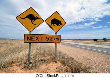 Kangaroo, wombat  warning sign Australia