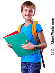 pupil of grade school with backpack and books - Portrait of...