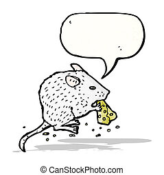 illustrating white mouse eating cheese