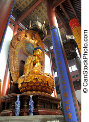 Famous giant seated Buddha at Lingyin Temple, Hangzhou,...