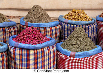 Spices at the market in the souk of Marrakesh, Morocco