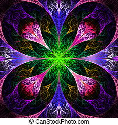 Beautiful fractal flower in black, purple and green....