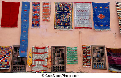 Carpets for sale at a shop in Marrakesh,Morrocco