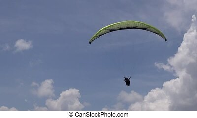 Parasailing in Clouds, Paragliding, Sky Diving