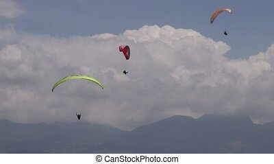 Three Parasails, Triplets, Trio, Paragliding, Sky Diving