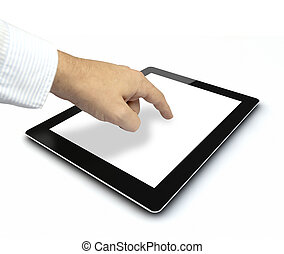 finger touch - a hand touching a tablet pc empty