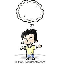 happy cartoon boy imagining