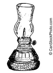 Lentera, traditional oil lamp - hand draw sketch of...