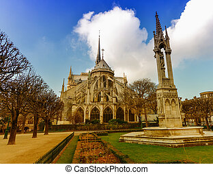 The Cathedral of Notre Dame in Paris, exterior view.