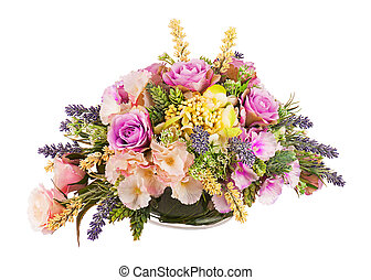 ramo, artificial, flores, arreglo, centro de mesa, florero