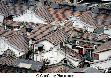 Shanghai hutong in bird view - Roofs of a Shanghai (China)...
