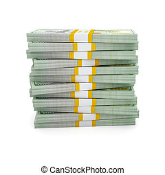 Stack of new US dollars 2013 edition bills - Creative...