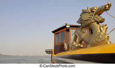 Boat ride at the West Lake near Hangzhou - Tourist boat at...