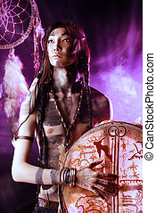 tambourine - Portrait of the American Indian. Ethnicity and...